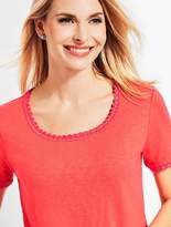 Talbots Crochet-Trim Scoop-Neck Tee