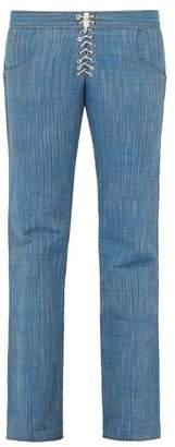 Ludovic De Saint Sernin - Lace Up Straight Leg Cotton Twill Trousers - Mens - Blue