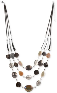 """Style&Co. Style & Co Stone & Shell Beaded Triple-Row Faux-Suede Necklace, 25"""" + 3"""" extender, Created for Macy's"""