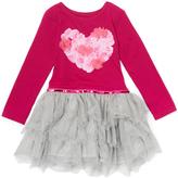 Nannette Fuchsia & Gray Heart Dress - Toddler & Girls