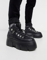Asos Design DESIGN lace up boots in black faux leather with chunky sole