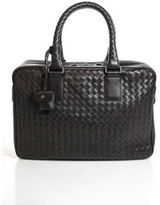 Bottega Veneta Dark Brown Leather Intrecciato Structured Satchel Handbag EVHB