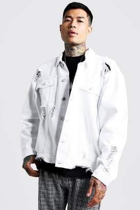 BoohoomanBoohooMAN Mens White Oversized Denim Jacket With Heavy Distressing, White