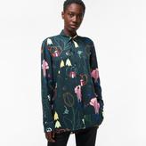 Paul Smith Women's Navy 'Crayon Floral' Crêpe Shirt