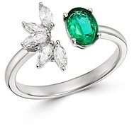 Bloomingdale's Emerald & Diamond Statement Ring in 14K White Gold - 100% Exclusive