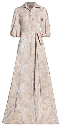 Theia Metallic Puff-Sleeve Button-Front Gown