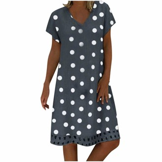 Mooua Women Short Sleeves V-Neck Dresses Casual Summer Loose Polka Dot Print Colorblock Dress Green