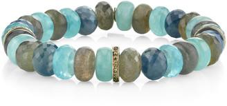 Sheryl Lowe 10mm Mixed Bead & Diamond 1-Rondelle Bracelet