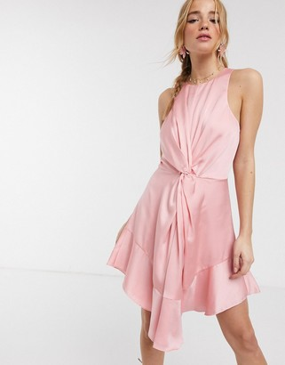 Keepsake these days satin twist detail mini dress in candy