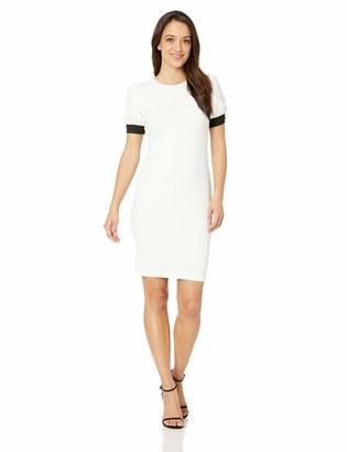 Calvin Klein Women's Petite Round Neck Sheath with Blouson Short Sleeves Dress