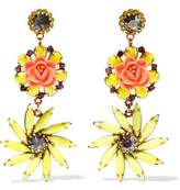 Elizabeth Cole Gold-Tone Resin Stone And Crystal Earrings