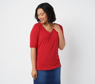 Belle By Kim Gravel TripleLuxe Knit Ruched Side V-Neck Top