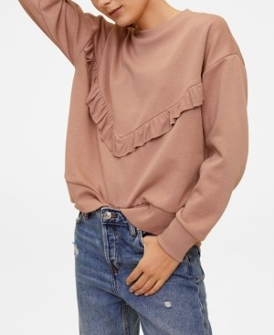 MANGO Ruffled Cotton Sweatshirt