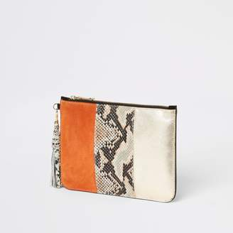 River Island Womens Orange snake print leather pouch clutch bag