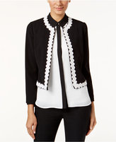 CeCe Embroidered Wave-Trim Jacket