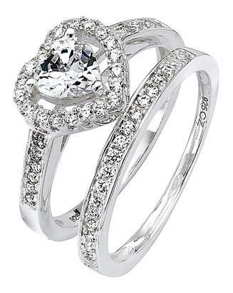 Marisota Cubic Zirconia Two-Piece Heart Ring Set