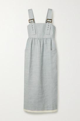 Lee Mathews Haruto Linen Midi Dress - Blue
