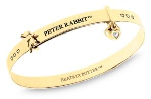 Rhona Sutton Beatrix Potter Sterling Silver Peter Rabbit Heart Charm Expander Bangle Bracelet