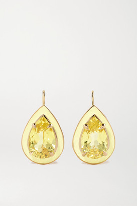 Alison Lou Pear Cocktail Drops 14-karat Gold, Sapphire And Enamel Earrings
