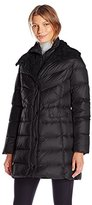 Kenneth Cole Women's Faux Down Puffer with Faux Shearling Collar