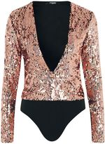 Jaded London **Rose Gold Sequin Plunge Body