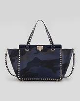Valentino Rockstud Camo Canvas-Leather Medium Tote Bag, Blue