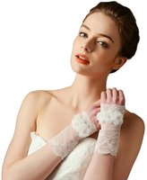 STEVE YIWU Fingerless Lace Wedding Gloves with Simulation Flowers
