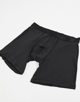 ASOS DESIGN longer length trunks in black microfiber