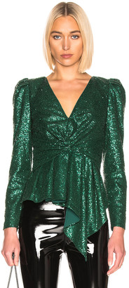 Self-Portrait for FWRD Sequin Top in Green | FWRD