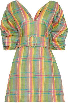 Nicholas Belted Gathered Checked Linen Mini Dress