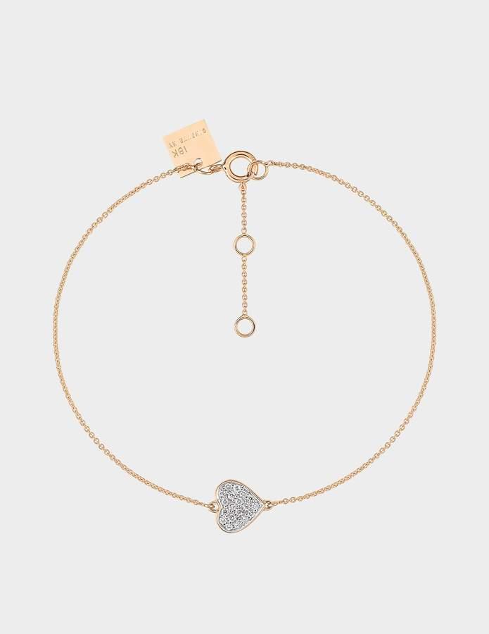 ginette_ny Tiny Diamond Heart Bracelet in 18K Rose Gold and Diamonds