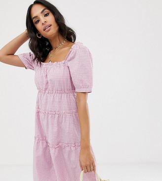 Vila square neck check smock mini dress-Pink