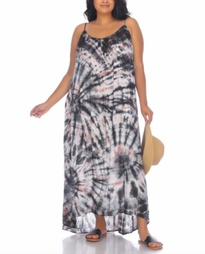Raviya Plus Size Tie-Dyed Maxi Cover Up Dress Women's Swimsuit