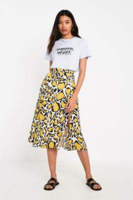 Gestuz Abstract Animal Print Midi Skirt - yellow 34W at Urban Outfitters