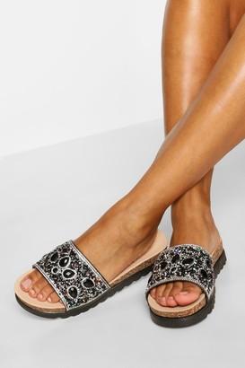 boohoo Embellished Footbed Slider