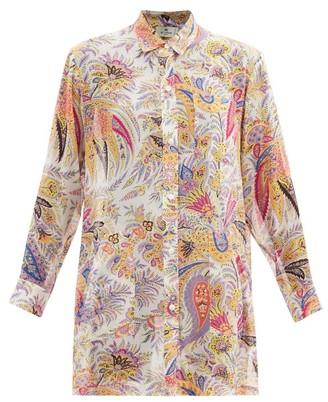 Etro Sardegna Paisley-print Silk Shirt Dress - White Multi