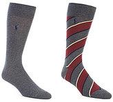 Polo Ralph Lauren Diagonal Stripe Crew Dress Socks 2-Pack