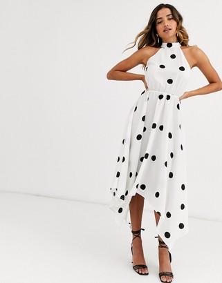 AX Paris hanky hem midi dress in polka dot