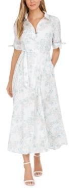 Calvin Klein Cotton Floral-Print Maxi Shirtdress