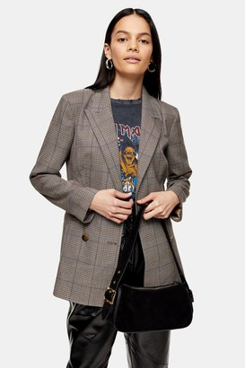 Topshop Womens Brown Check Double Breasted Blazer - Brown