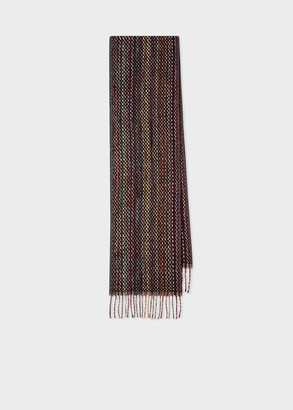 Paul Smith Men's Basket Weave Signature Stripe Cashmere Scarf