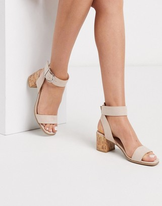 Qupid mid heeled sandals in beige