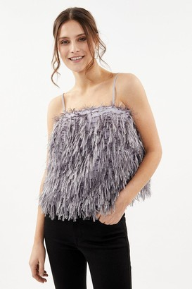 Coast Strappy Faux Feather Cami Top