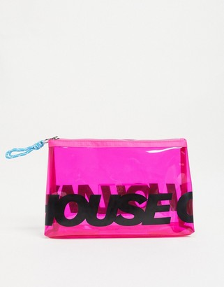 House of Holland transparent cosmetic bag in pink