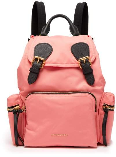 Burberry Medium Nylon Backpack - Womens - Pink