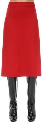 Prada A Line Gabardine Natte Midi Skirt