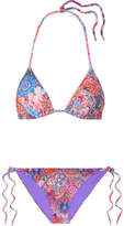Matthew Williamson Printed Triangle Bikini - Lavender