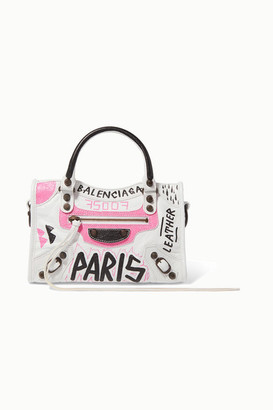 Balenciaga Classic City Mini Printed Textured-leather Tote - White