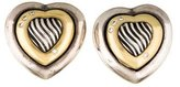 David Yurman Two-Tone Diamond Cable Heart Earrings