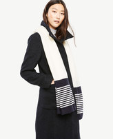 Ann Taylor Stripe Knit Wrap Scarf
